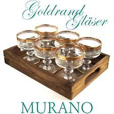 GLÄSER Kristallgläser 6 Champagnergläser MURANO Goldrand KRISTALL geschliffen