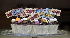 SUPERHERO CAKE PICKS - SPIDERMAN COMIC STRIP CUPCAKE FOOD FLAGS - 30 ZAP! POW!
