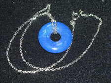 pretty blue stone ring pendant on silver tone necklace never worn