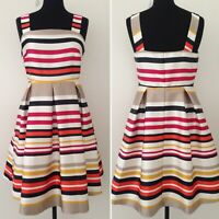 M&S Party Occasion Dress Striped Fit & Flare A-Line Party Wedding UK 12