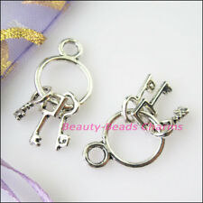5Pcs Tibetan Silver Tone Tiny 3-Keys Charms Pendants 12.5x27mm
