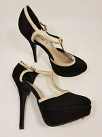 New Look size 7 (40) black faux suede buckle strap platform stiletto heels