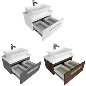 Aufsatzwaschbecken mit Waschtischunterschrank Platte 50 60 80 Badmöbel Badset