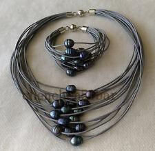 15 Reihen 10-12mm schwarz Süßwasser Perle grau Leder Halskette Armband set