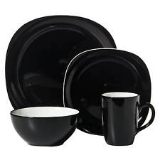 C.C.A. International Duo Quadro 16pc Dinnerware Set Black