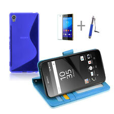 BLUE Wallet 4in1 Accessory Bundle Kit S TPU Case Cover F Sony Xperia Z5 Compact
