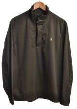 POLO GOLF RALPH LAUREN Mens Sz M Sweater 1/4 Zip Olive Green Classic Jacket Wind