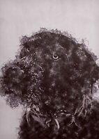 Shaggy black dog drawing, watercolour painting, unique  artwork gift (print)