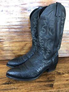 Mens Dan Post Black Bull Hide Western Cowboy Boots Size 11 D