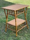 A Fine Restored Antique Burnt Bamboo Rattan Side Table