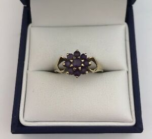 Vintage 9ct Gold & Amethyst Cluster Ring.   Size M1/2   2.3 Grams.  London 1976