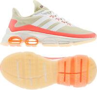 Adidas Quadcube Scarpe Corsa Donna Beige Sostegno Ammortizzata Sneaker Sportiva
