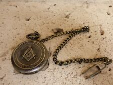 Masonic Square and Compasses Symbols Mason Pocket Watch Freemasons Bronze Finish