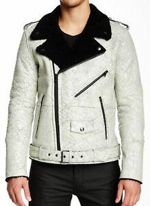 BLK DNM Men's Black/White Genuine Shearling Leather Jacket  XL  NWT (SALE ITEM