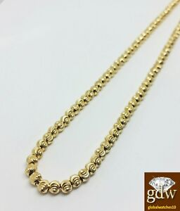 """Real 10k Gold Moon Cut Chain Necklace 20"""" Inch 3mm With 10k Diamond Dog Tag SET"""