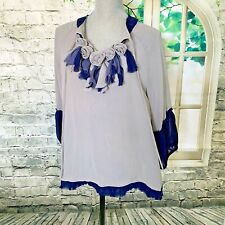 Blue Velvet Size Large Grey & Navy Blue Chiffon Swing Style Blouse Flower Detail