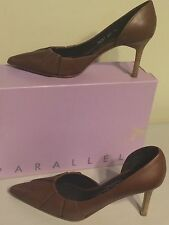 Parallele Paneled Pointy Toe Leather Heels Made In France Size US 6