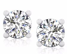Round 1.00 Ct Solitaire Diamond Earring Stud 14K White Gold Earring Stud 0.12