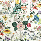 """Cotton Fabric by the Yard Flower Fabric 44"""" Wide SY Botanic Flower Laceking"""
