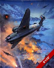 WWII ROYAL AIR FORCE HUDSON BOMBERS ATTACKING PAINTING ART REAL CANVAS PRINT