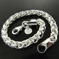 Bracelet Bangle Real 925 Sterling Silver S/F Solid Ladies Antique Link Design