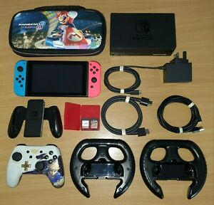 Nintendo Switch 32GB Console - Neon Red/Neon Blue with Two games + Accessories