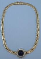 MONET Gold Tone Necklace Black Cabouchons and Rhinestone Pendant  J175