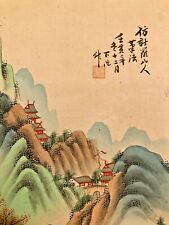 2 Large Antique Chinese paintings w/ Calligraphy And mark  on Silk and Paper