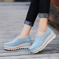Women Breathable Suede Round Toe Slip On Platform Shoes Wedge Casual Creepers