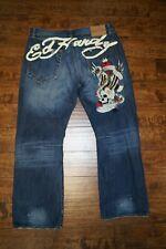 ED HARDY DENIM Mens New York City Skull Denim Jeans 42 x 34 Distressed EUC