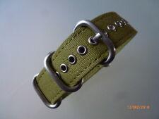 Uhrenarmband-20 mm olive Strap-Canvas-Nato-ZULU-Rundring-Edelstahl-matt-Uhrband
