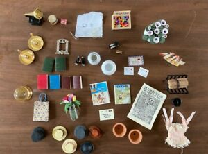 Dolls House 1/12 mixed lot of flowers, hats, ship, lacy underwear, camera, set 8