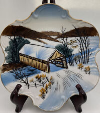 Vintage Hand Painted Norcrest Fine China Collector Plate Winter Scene P-114