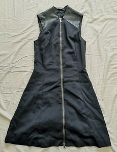 Flavio Castellani Women's Front Zip Leather Shoulder Dress Size IT 42 UK 8 Used