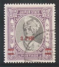 INDIA JAIPUR STATE 1947 KGVI. 3P ON 1/2An SG71a ERROR (PIE FOR PIES) USED STAMP.