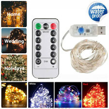 2x String Fairy Light USB Charger Waterproof 8 Modes 33ft 100 LED Christmas Lamp
