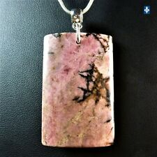 ♥ Beautiful Rectangular Pink Rhodonite Plated Silver Pendant FREE 20in.CHAIN