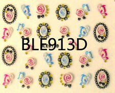 Wrap Flower Butterfly Rhinestone 3D Nail Art Stickers Decals BLE913D