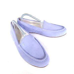 Vionic Mckenzie Moccasins Slippers Blue Lavender 9.5 Suede Faux Fur Lined 41.5