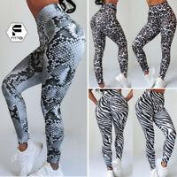 US Women Ruched Push Up Leggings Yoga Sportswear Anti Cellulite Scrunch Pants 3D