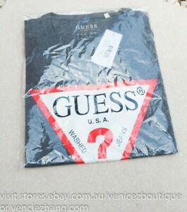 BNWT GUESS $49.95 Mens Triangle Logo Signature Tee T-shirt Grey Size XL