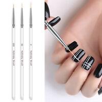 3pcs Nail Art UV Gel Liner Drawing Brush Flower Painting Acrylic Pen Accessory #