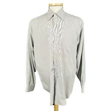 Giorgio Armani Large Gray Check Button Front Shirt Made in Italy