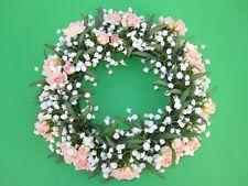 Posten-Kunstblumen, Kranze mit Rosen und Gypsophila  25 cm Farbe rosee