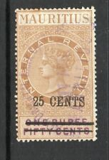 1885/94 Mauritius Int.Revenue Bft:64 25c on ONE RUPEE FIFTY CENTS Brown& Purple.