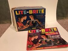 Vintage 1967 Lite Brite Hasbro Lightbox Toy Extra Patterns, Pegs, Picture Refill