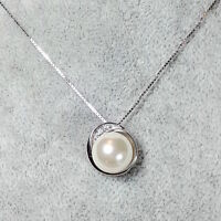 925 Sterling Silver Freshwater White Pearl Necklace Adorned w Swarovski Crystals