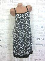 Sommerkleid Hängerchen Strand Kleid Tunika Print IBIZA 36 38 40 42 Grau E513