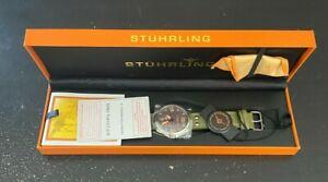 Stuhrling Original 684.03 Men's Tuskegee Airmen Green Leather Watch NEW