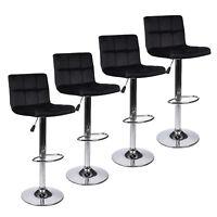 Set Of 4 Bar Stools Hydraulic Adjustable Swivel Velvet Fabric Counter Chairs Pub